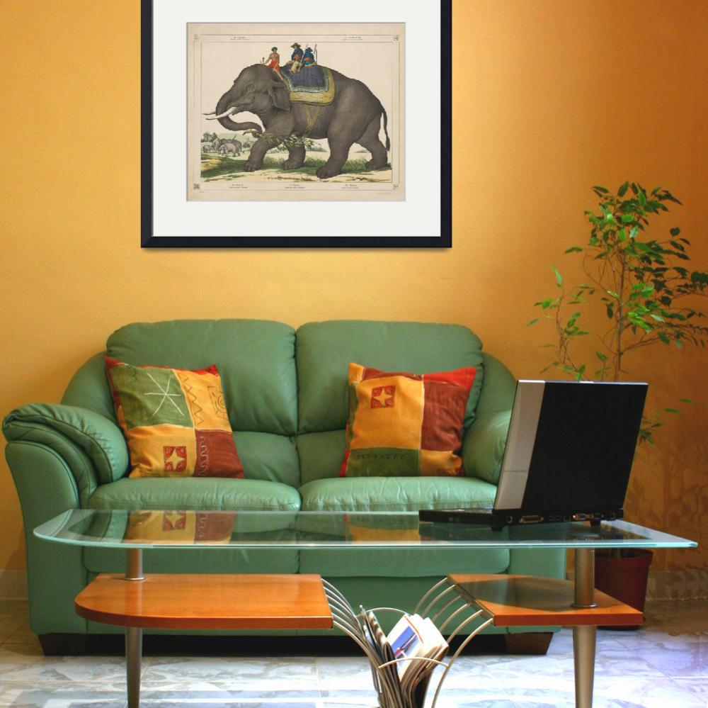 """Vintage Painting of Men Riding an Elephant&quot  by Alleycatshirts"