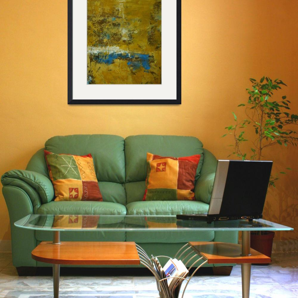 """""""Yellow and Ochre Blue Abstract No. 5&quot  by SusanGrissom"""