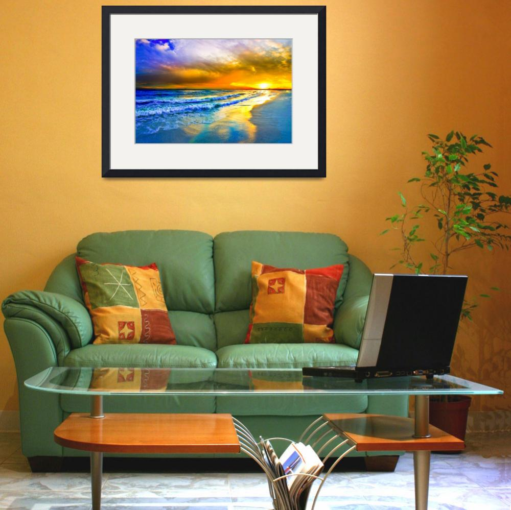 """""""Beautiful Beach Sunset Red Ocean Sunset Prints&quot  (2014) by eszra"""