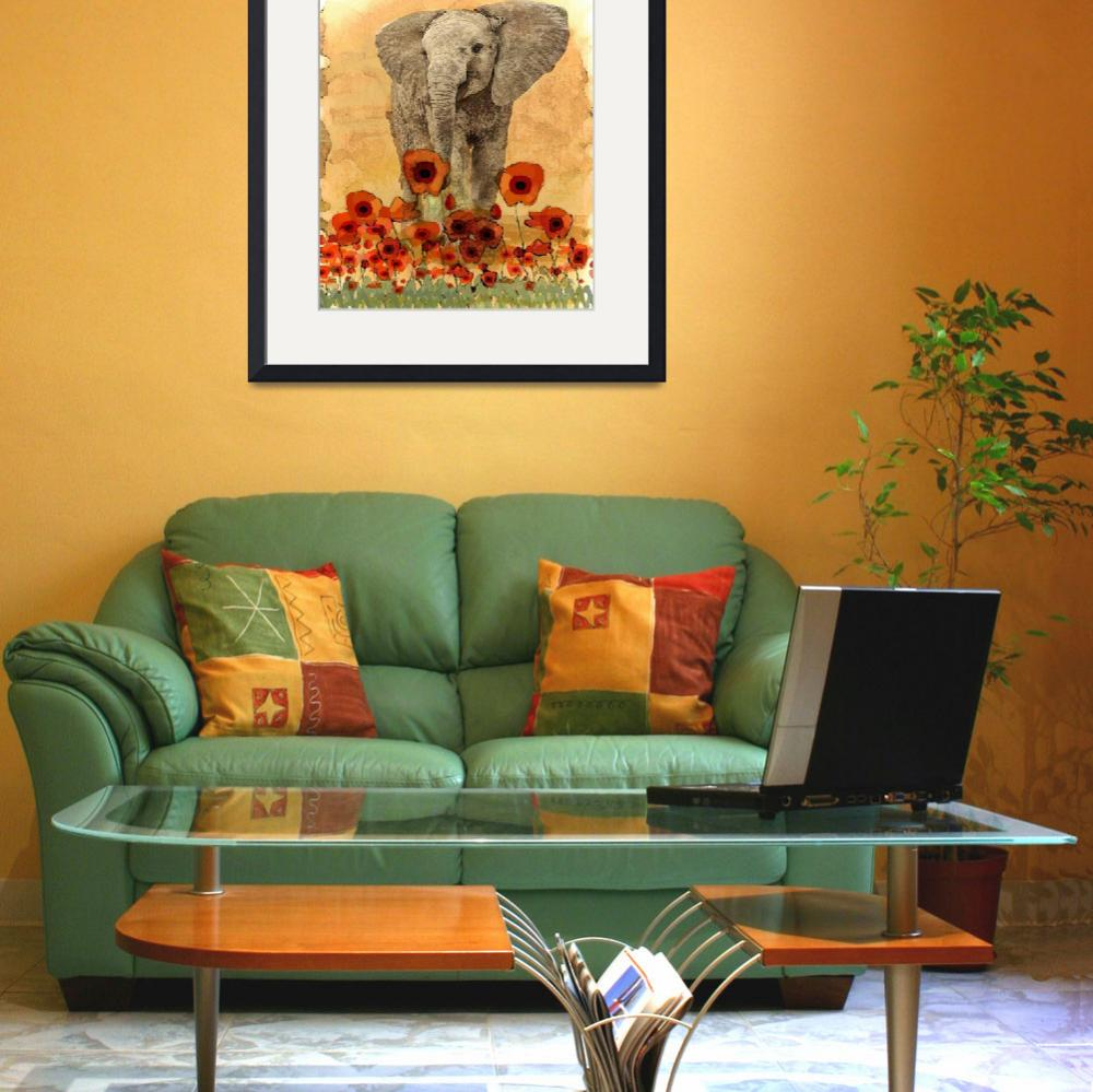 """""""Elephant in The Poppies&quot  (2015) by LJdesigns"""