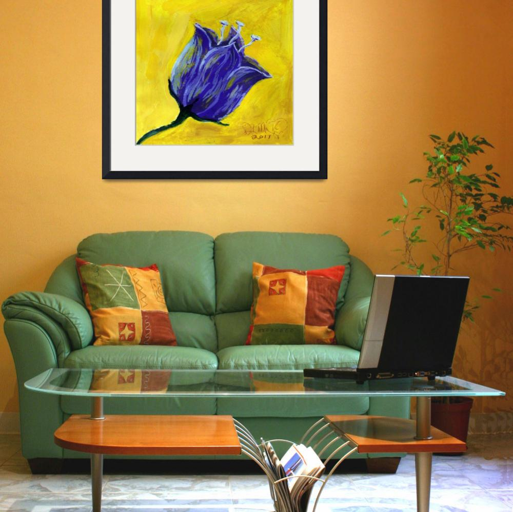 """""""purple tulip on yellow acrylic painting&quot  (2017) by dlmtleArt"""