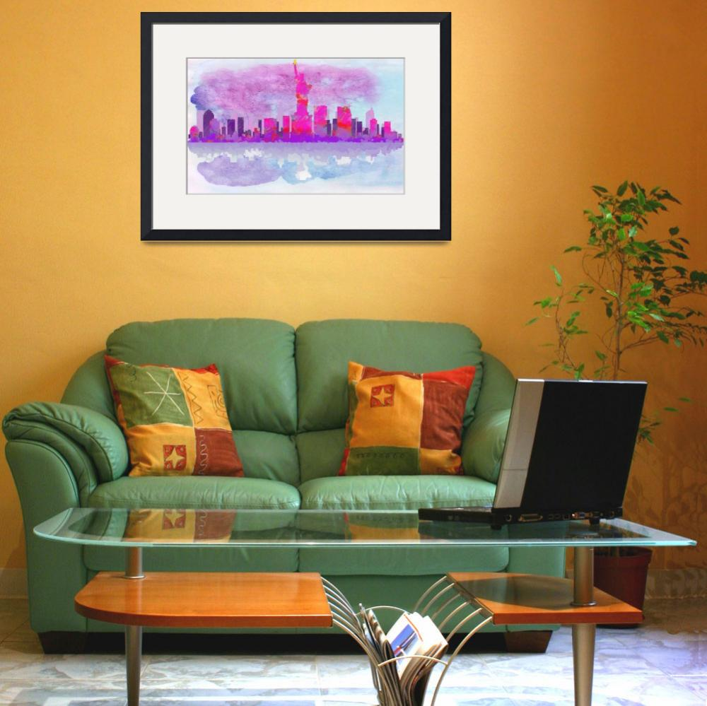 """New York City Silhouette in Hot Pink and Purple""  by WrightFineArt"