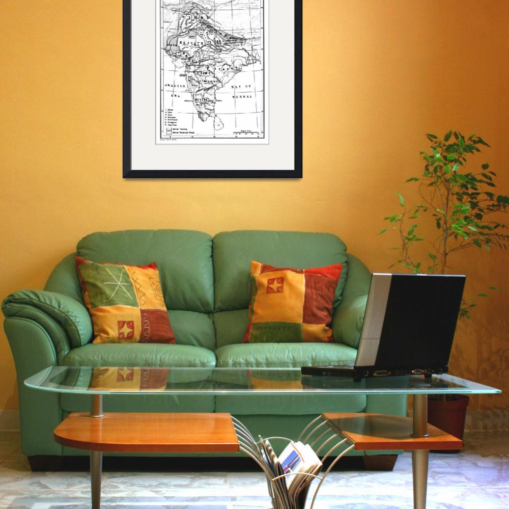 """""""Vintage Map of India (1823) BW""""  by Alleycatshirts"""
