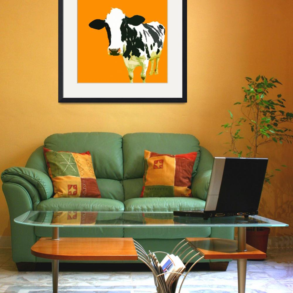 """""""Cow in Yellow World&quot  (2010) by whitewallgallery"""