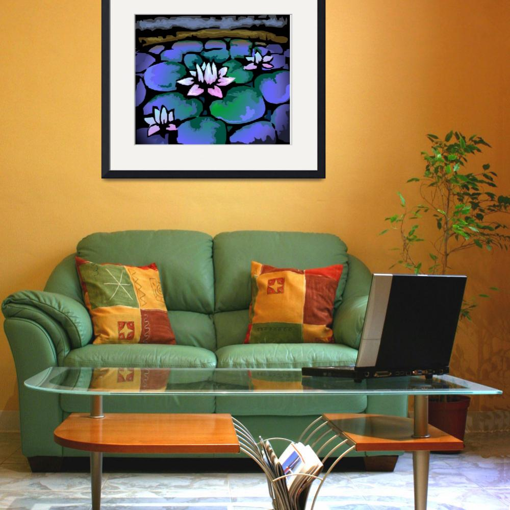"""""""Digital painting of lotus in colour background&quot  (2009) by digitalpainting"""
