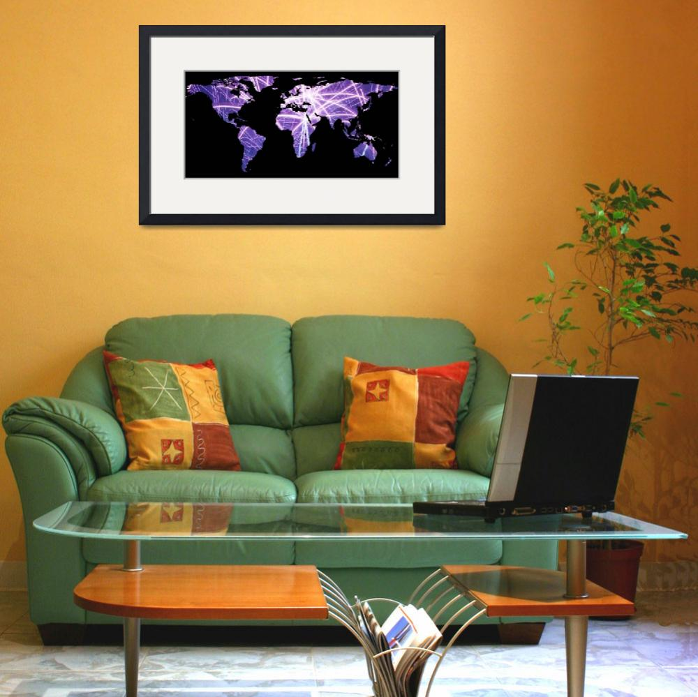 """""""World Map Silhouette - Fireworks""""  by Alleycatshirts"""