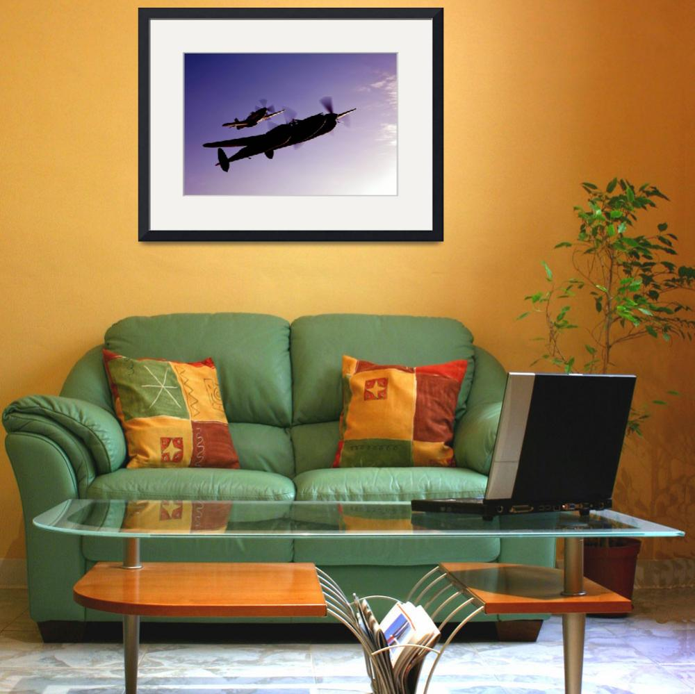"""""""A P 38 Lightning and P 51D Mustang in flight&quot  by stocktrekimages"""