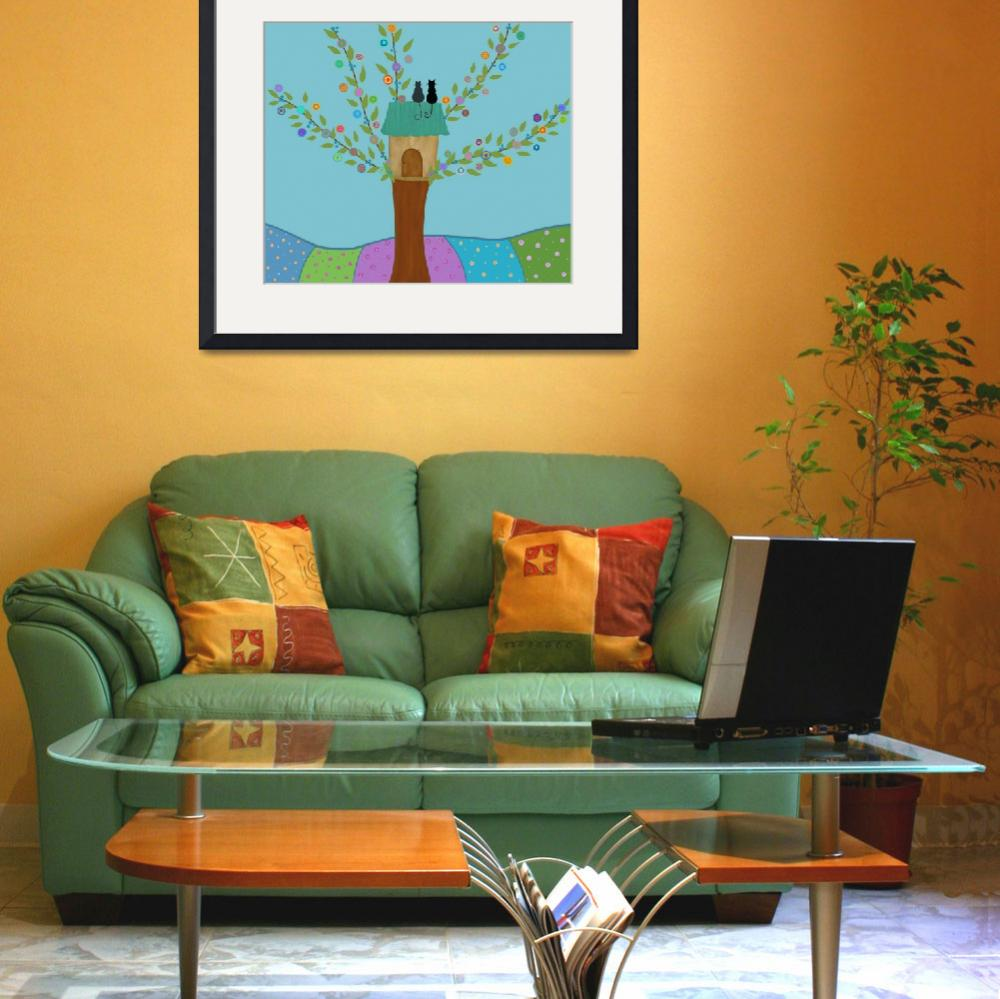 """""""Cute tree and cats""""  (2016) by CristinaBianco"""