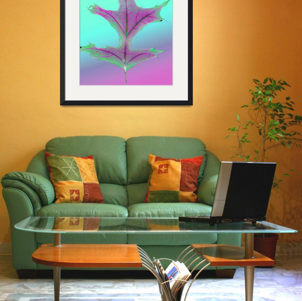 """""""Shocking Pink and Green Oak Leaf""""  (2009) by RussMartinPhotography"""