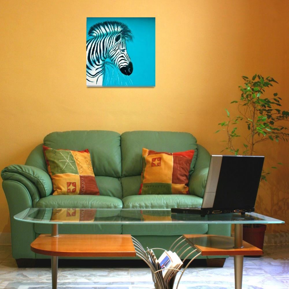 """Zebra Blue Popart Pop Art Paintings""  (2010) by Spangles44"