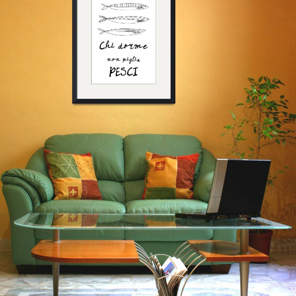 """""""Italian fish quote kitchen art&quot  (2012) by Lebonvintage"""