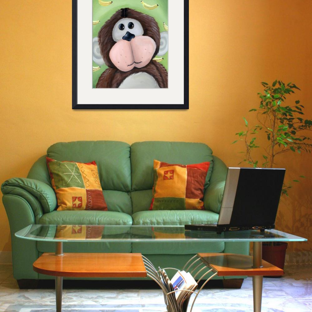 """""""Monkey with Banana Background&quot  (2010) by jjweststudio"""