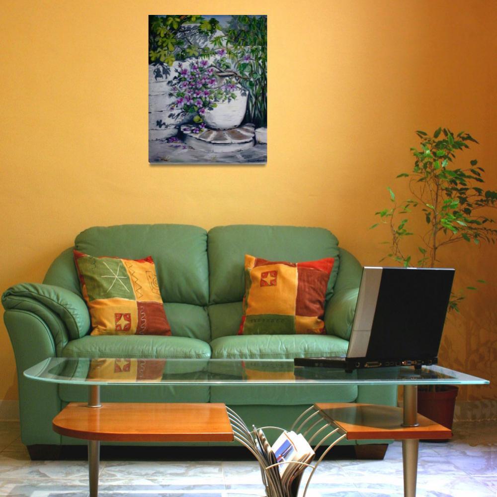 """Oil Jar with Pelargoniums""  (2006) by yvonneayoub"