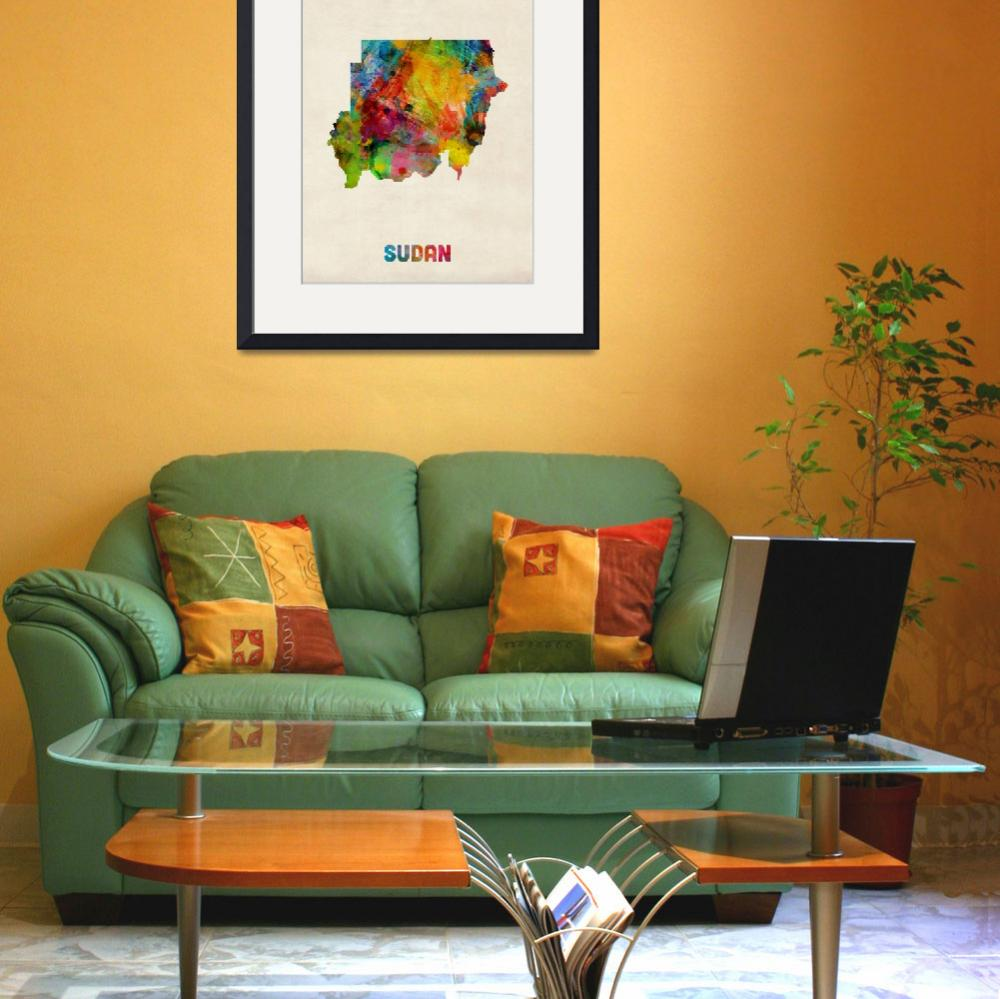 """Sudan Watercolor Map""  (2014) by ModernArtPrints"