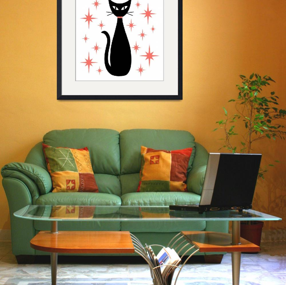 """""""Mid Century Cat with Pink Starbursts&quot  by DMibus"""