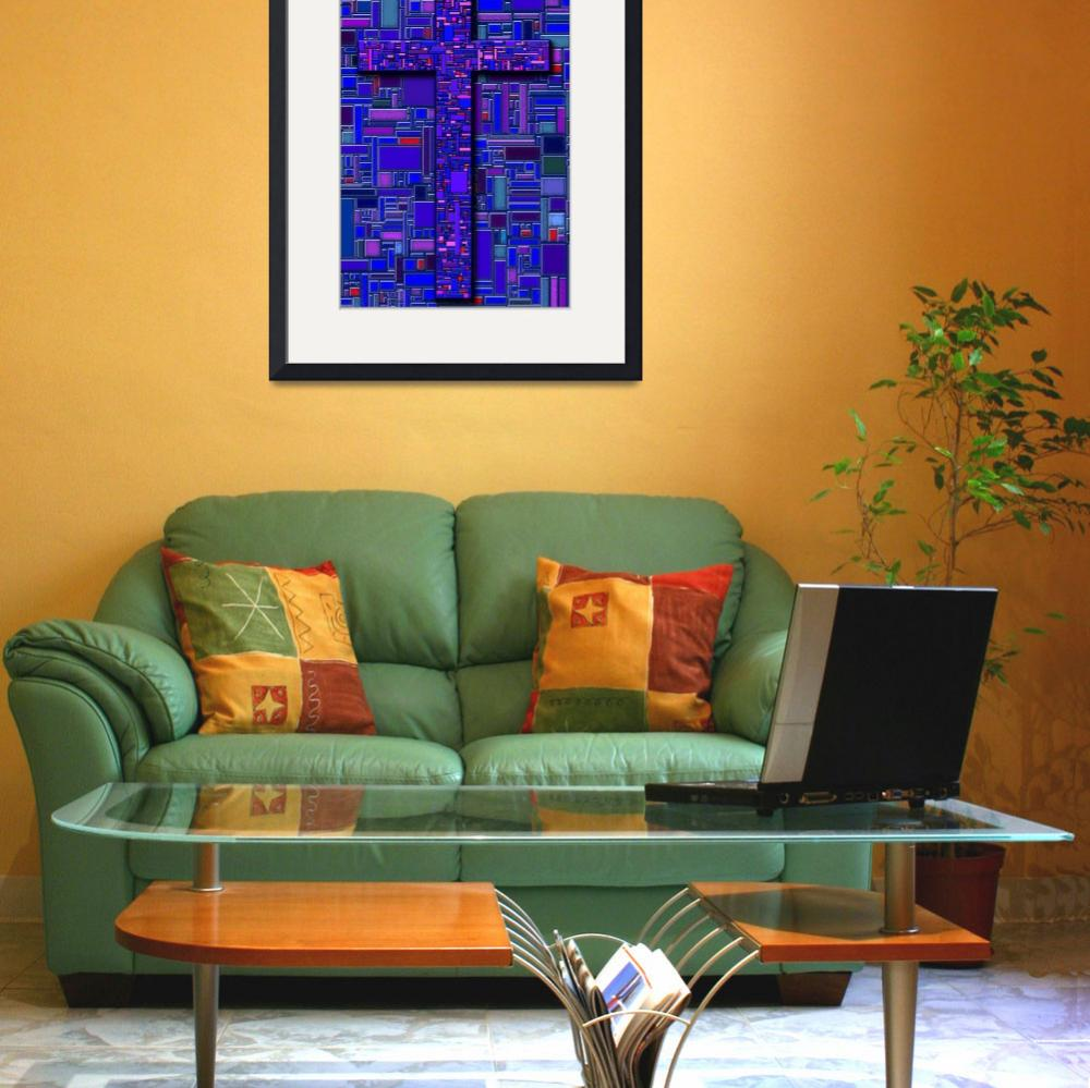 """""""Virtual Stained-Glass Cross&quot  (2007) by DCLWolf"""