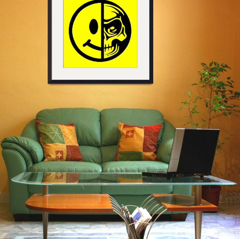 """""""Smiley Face Skull Yellow""""  (2018) by RubinoFineArt"""