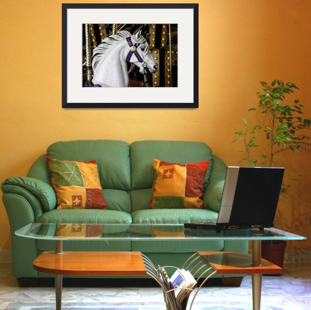 """""""White Carousel Horse&quot  by memoriesoflove"""