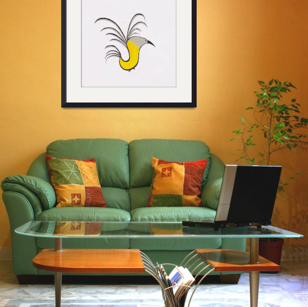 """Abstract Yellow Robin&quot  by LizLongo"