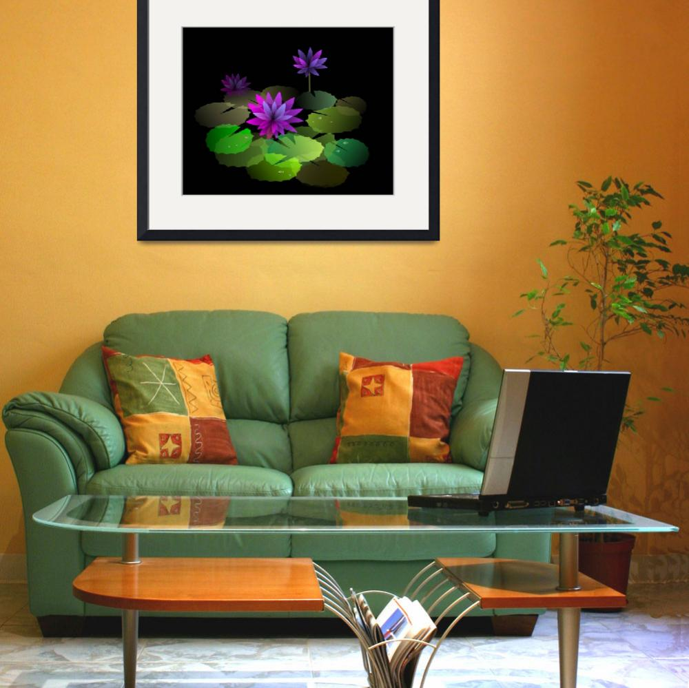 """Digital painting of lotus in colour background&quot  (2009) by digitalpainting"