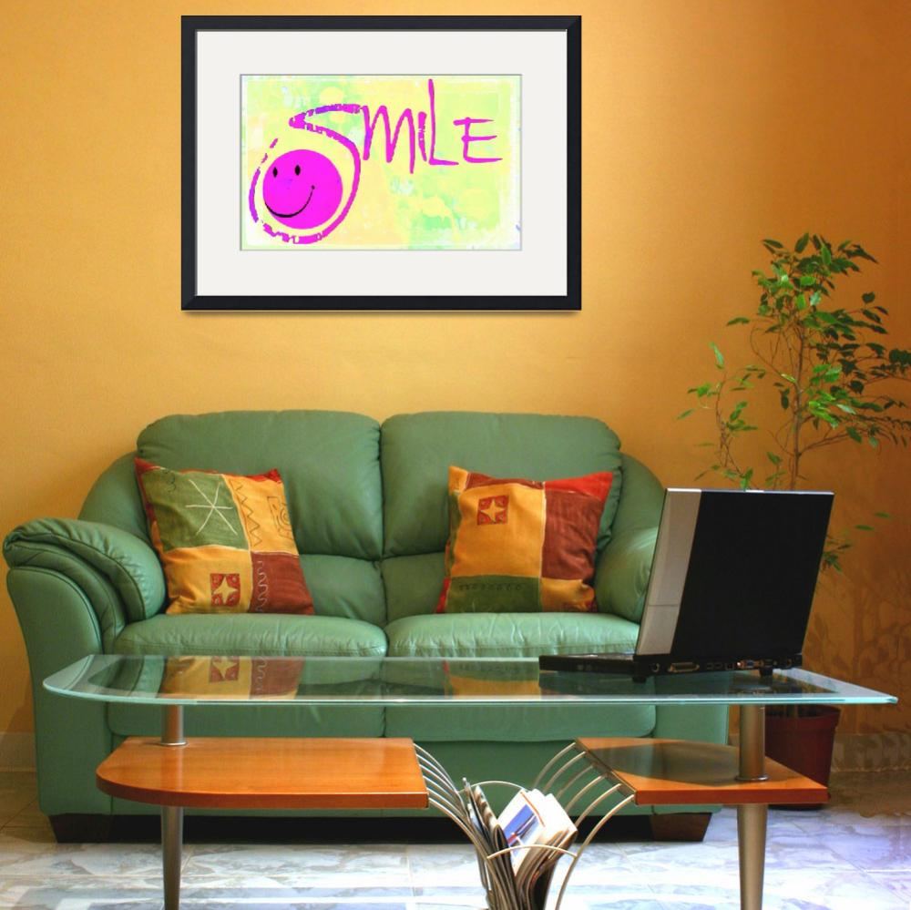 """""""smile purple on yellow pastel&quot  by lizmix"""