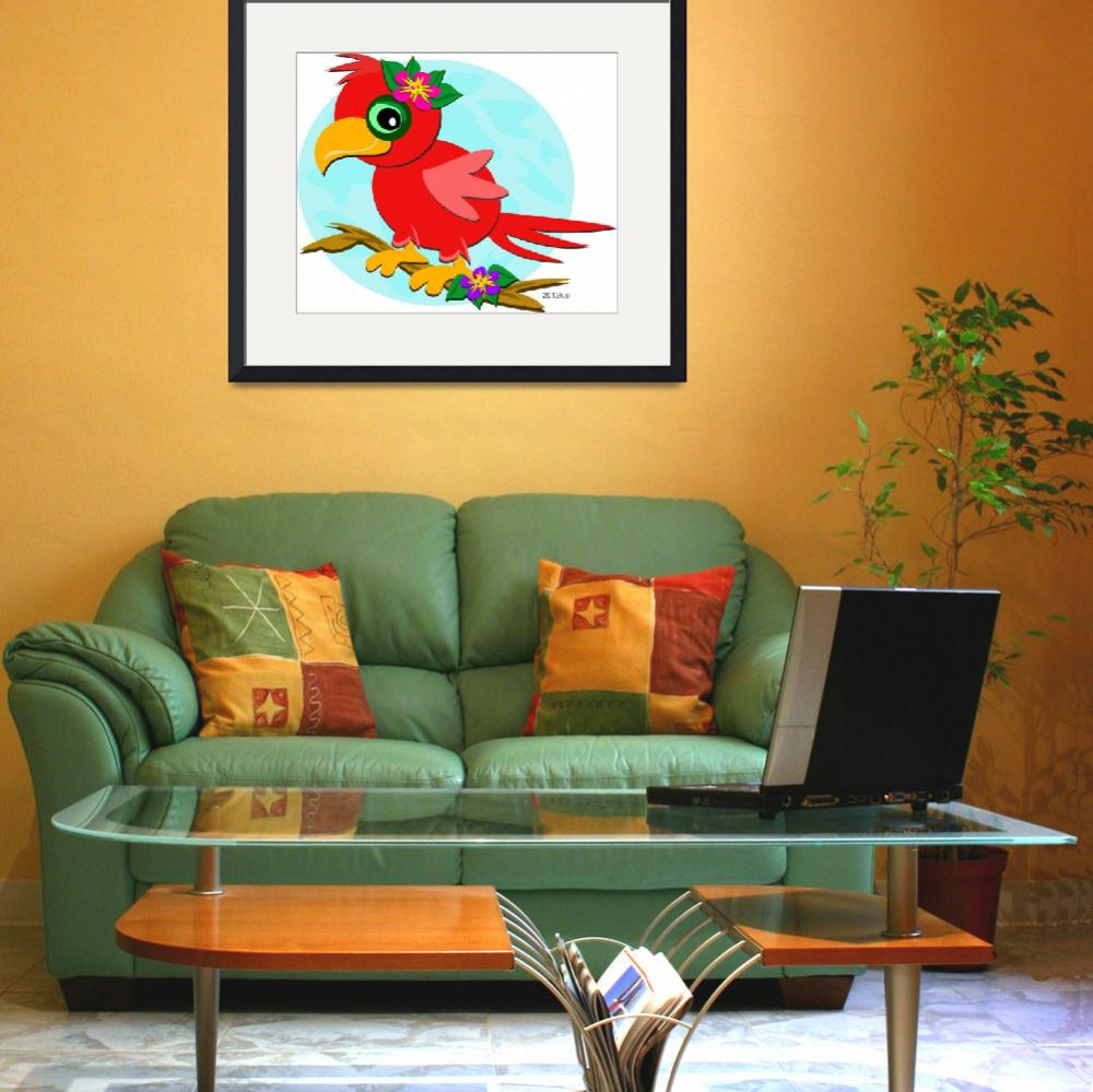 """Red Parrot with a Flower""  (2012) by theblueplanet"