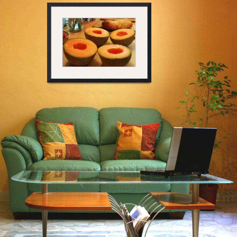 """""""Cantaloupe On Cutting Board&quot  (2010) by vncstone"""