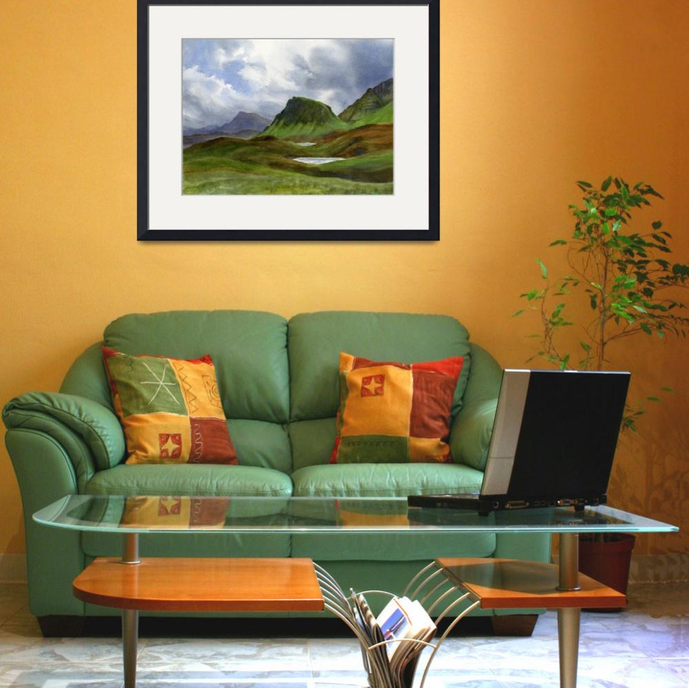 """""""Scotland Highlands Landscape&quot  (2016) by Pacific-NW-Watercolors"""
