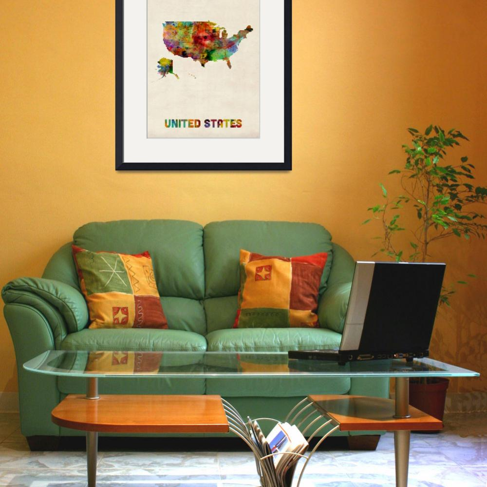 """""""United States, Watercolor Map&quot  (2013) by ModernArtPrints"""