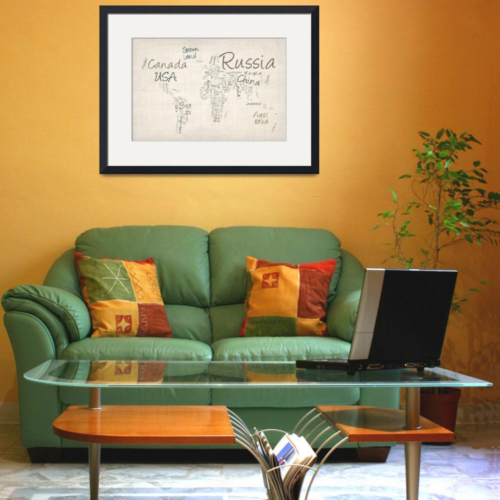 """""""Writing Text Map of the World Map&quot  (2012) by ModernArtPrints"""