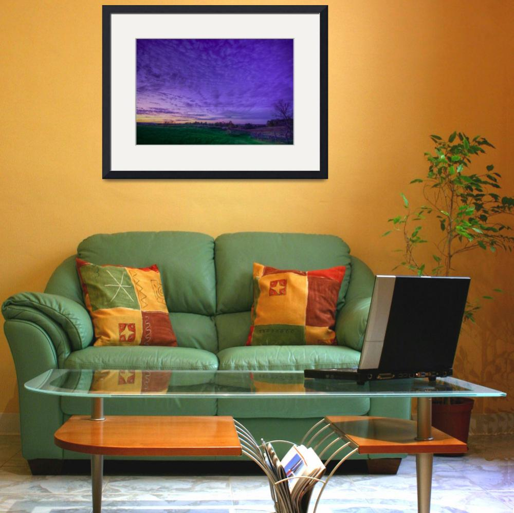 """""""Purple Sunset over Green Grass&quot  by CC-Photography"""