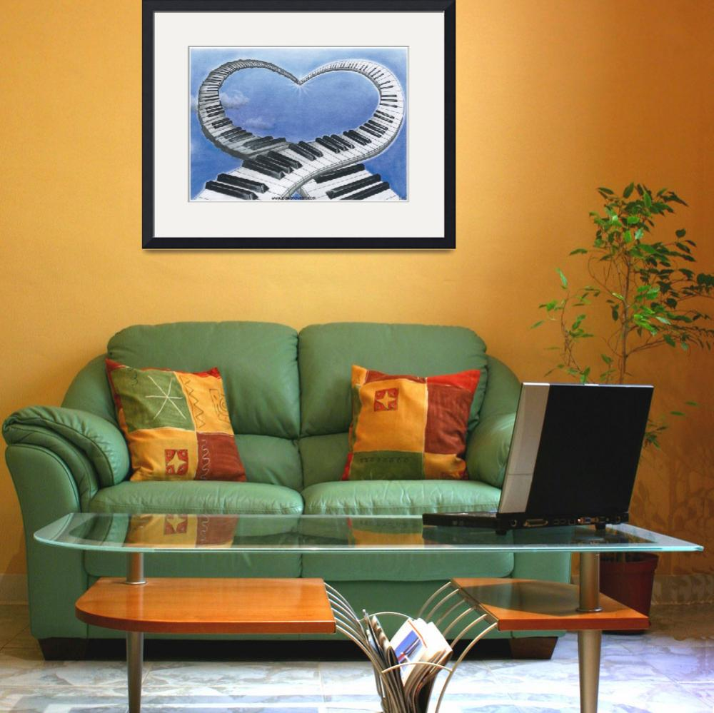 """""""music-of-love-piano-love-heart-blue-sky-symbolism-&quot  by Francescaloveartist"""