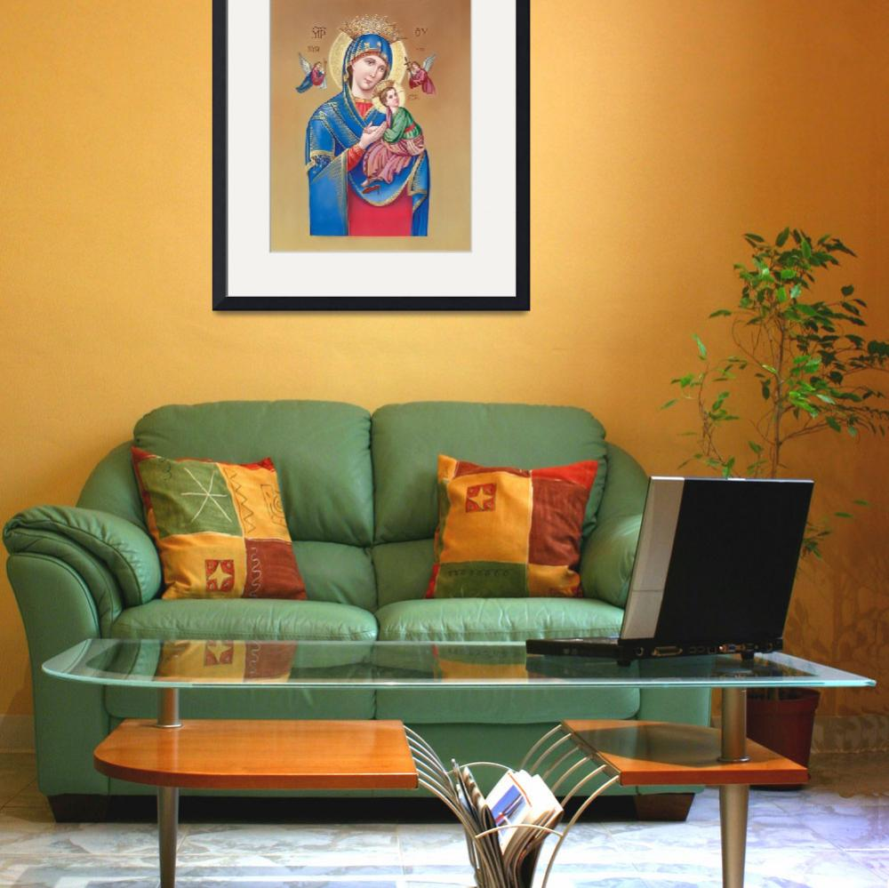 """""""Mary holding Jesus with angels flying around&quot  by artlicensing"""