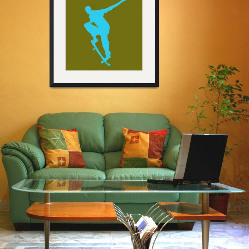 """""""Skateboarder 1 . green blue (c)&quot  (2014) by edmarion"""