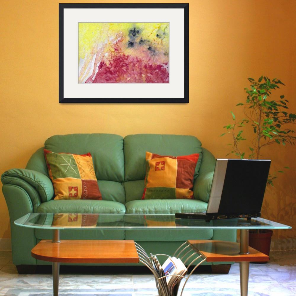 """""""Abstract Watercolor Texture Pink and Yellow&quot  (2014) by GinetteCallaway"""