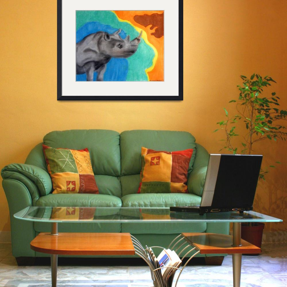 """A Cheerful Rhino&quot  (2007) by Kimmary"