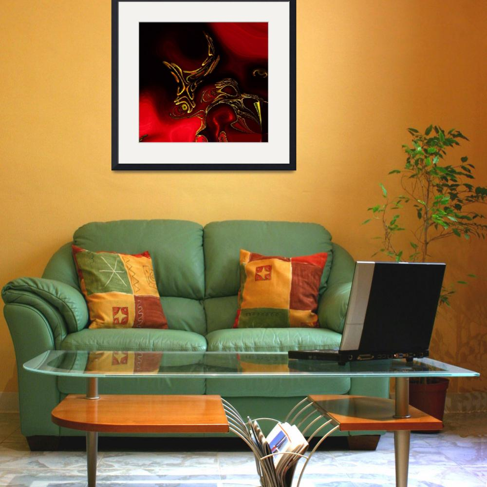 """""""Zizzago Art Abstract Red Gold Flame 2&quot  (2009) by shanmaree"""
