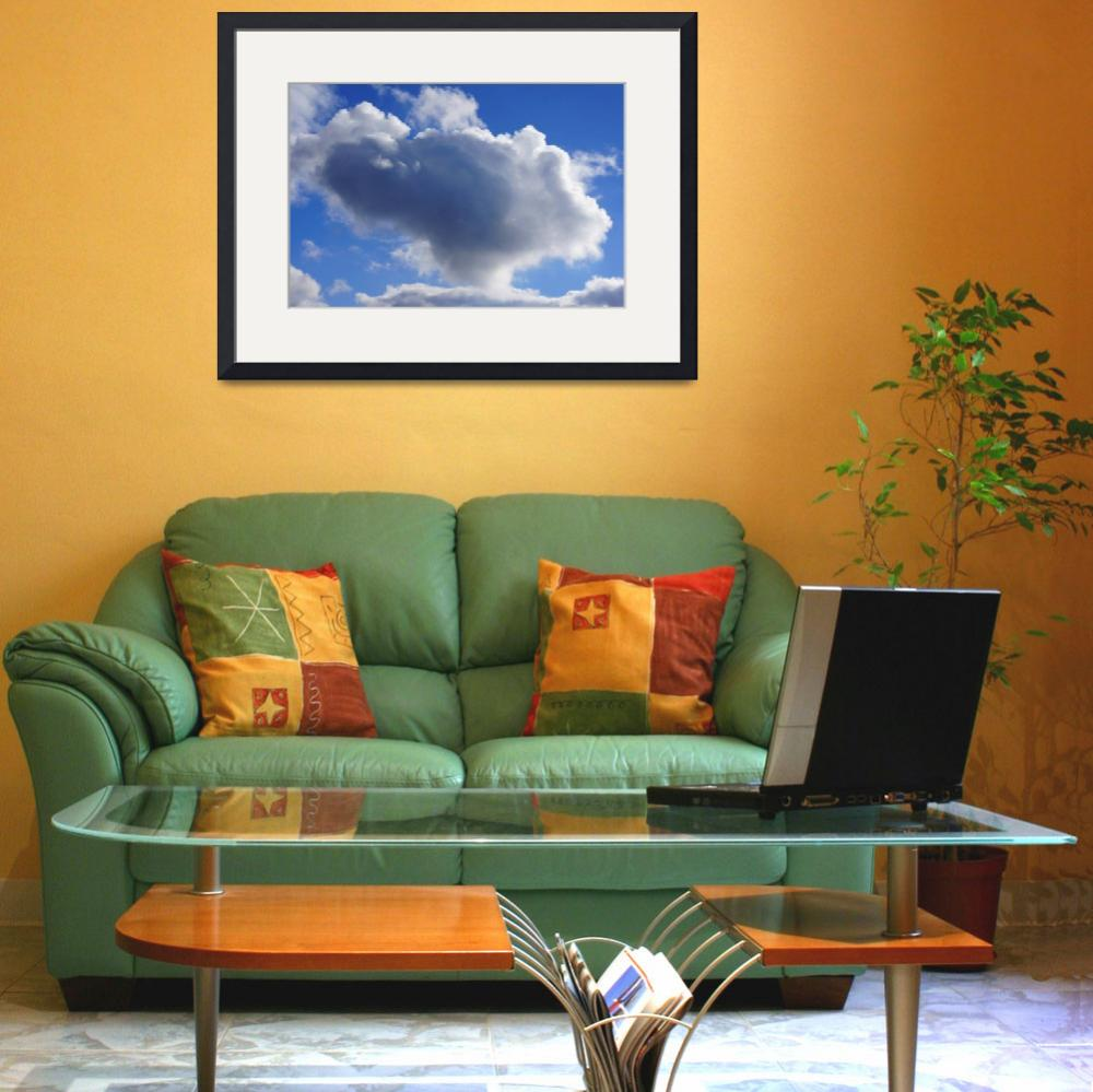 """""""Blue Sky Puffy White Clouds Skies Art Prints Weath""""  (2014) by BasleeTroutman"""