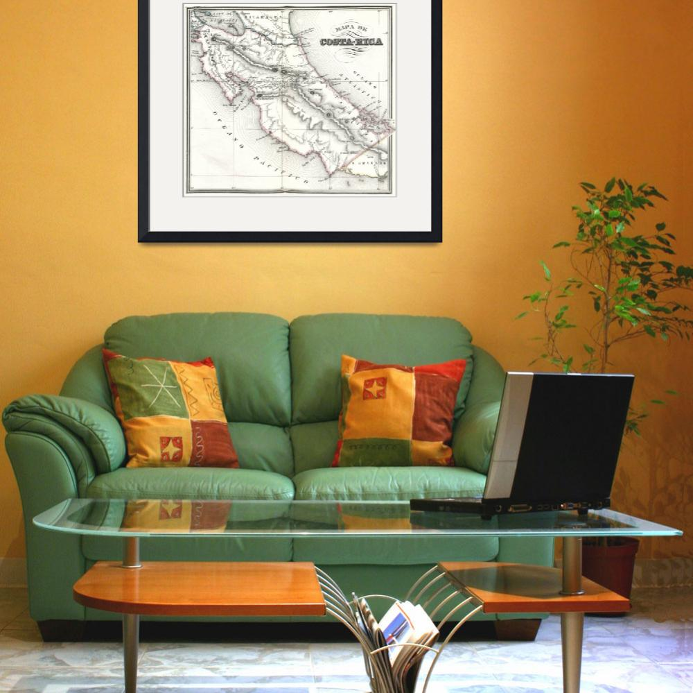 """""""Vintage Map of Costa Rica (1850)""""  by Alleycatshirts"""