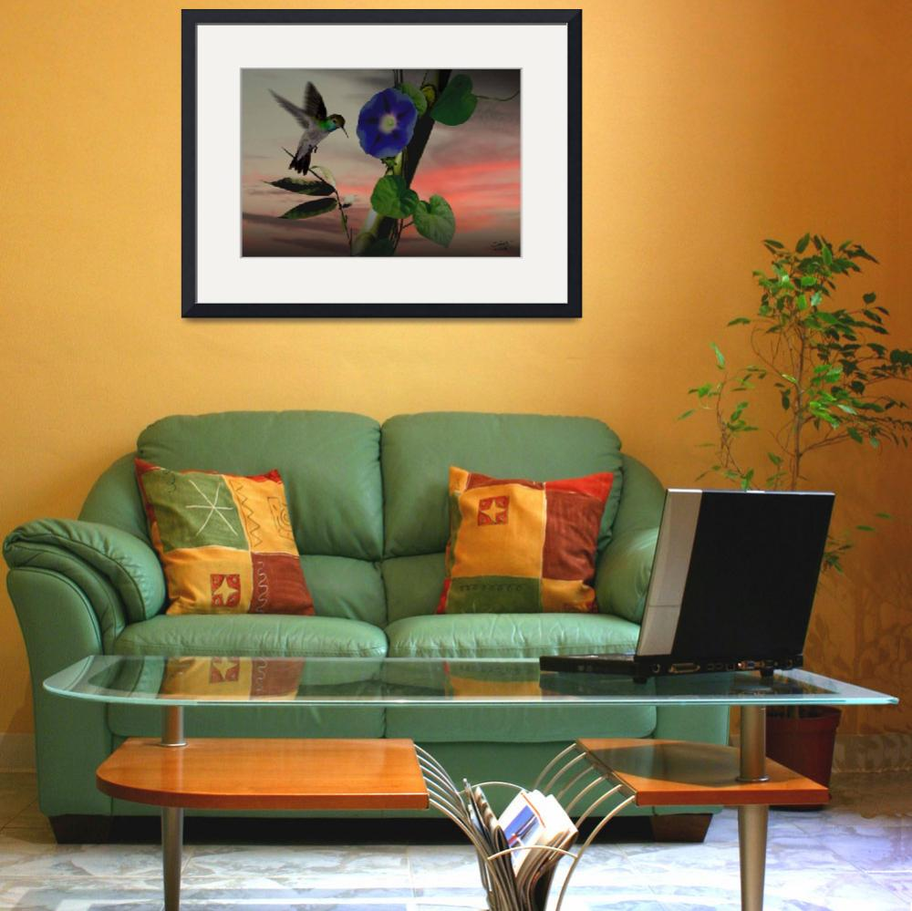 """""""Bamboo, Hummingbird, and Morning Glory&quot  (2010) by spadecaller"""