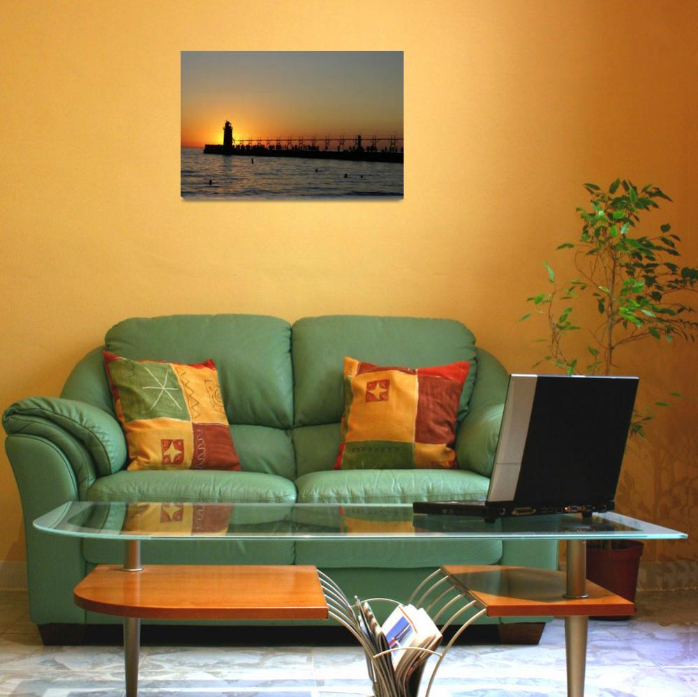 """""""South Haven Sunset&quot  (2008) by LarryBohlin"""