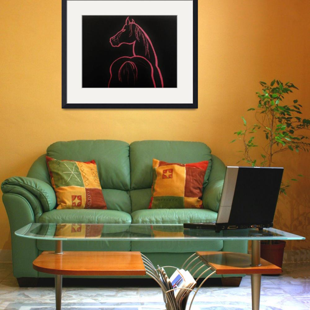"""""""pink in black - horse&quot  (2005) by gallerymay"""