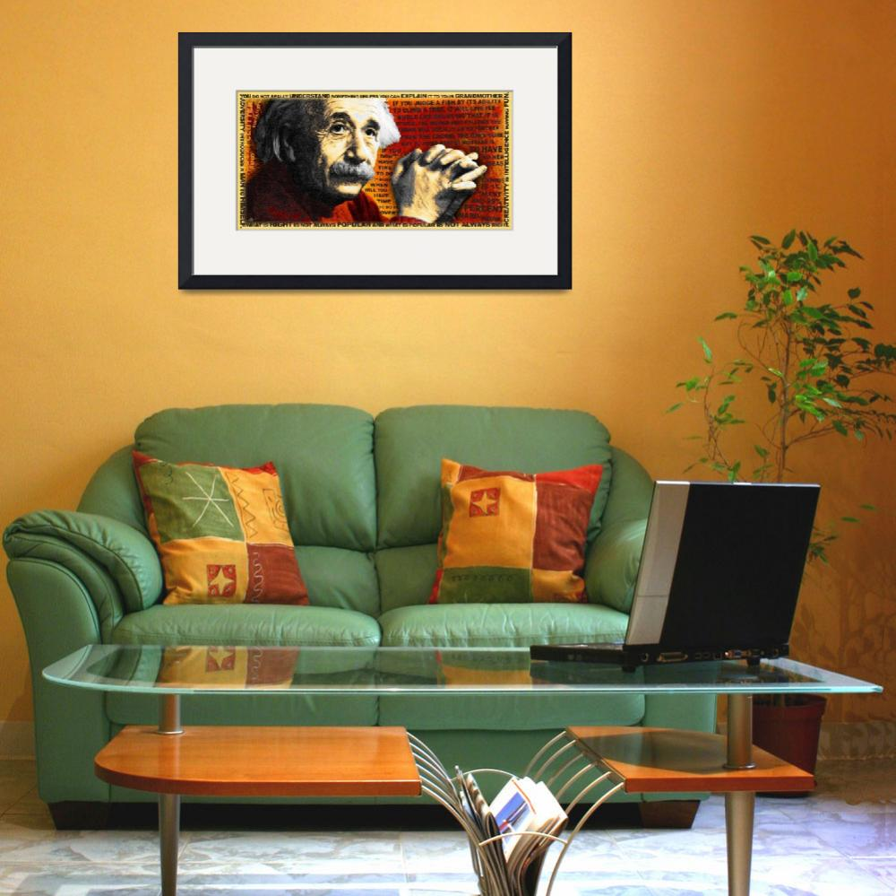 """Albert Einstein And Quotes Gold And Red&quot  by RubinoFineArt"