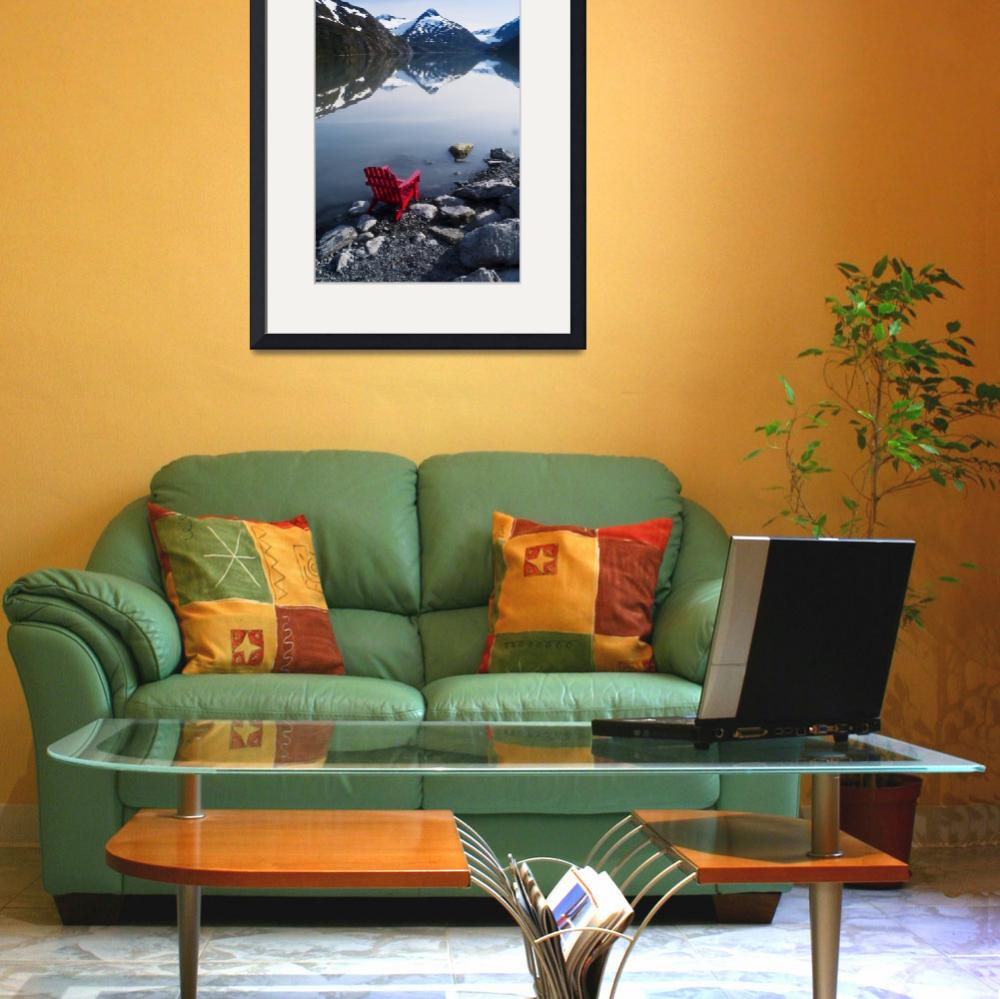 """""""Red Adirondack chair at Portage Lake with Chugach&quot  by DesignPics"""