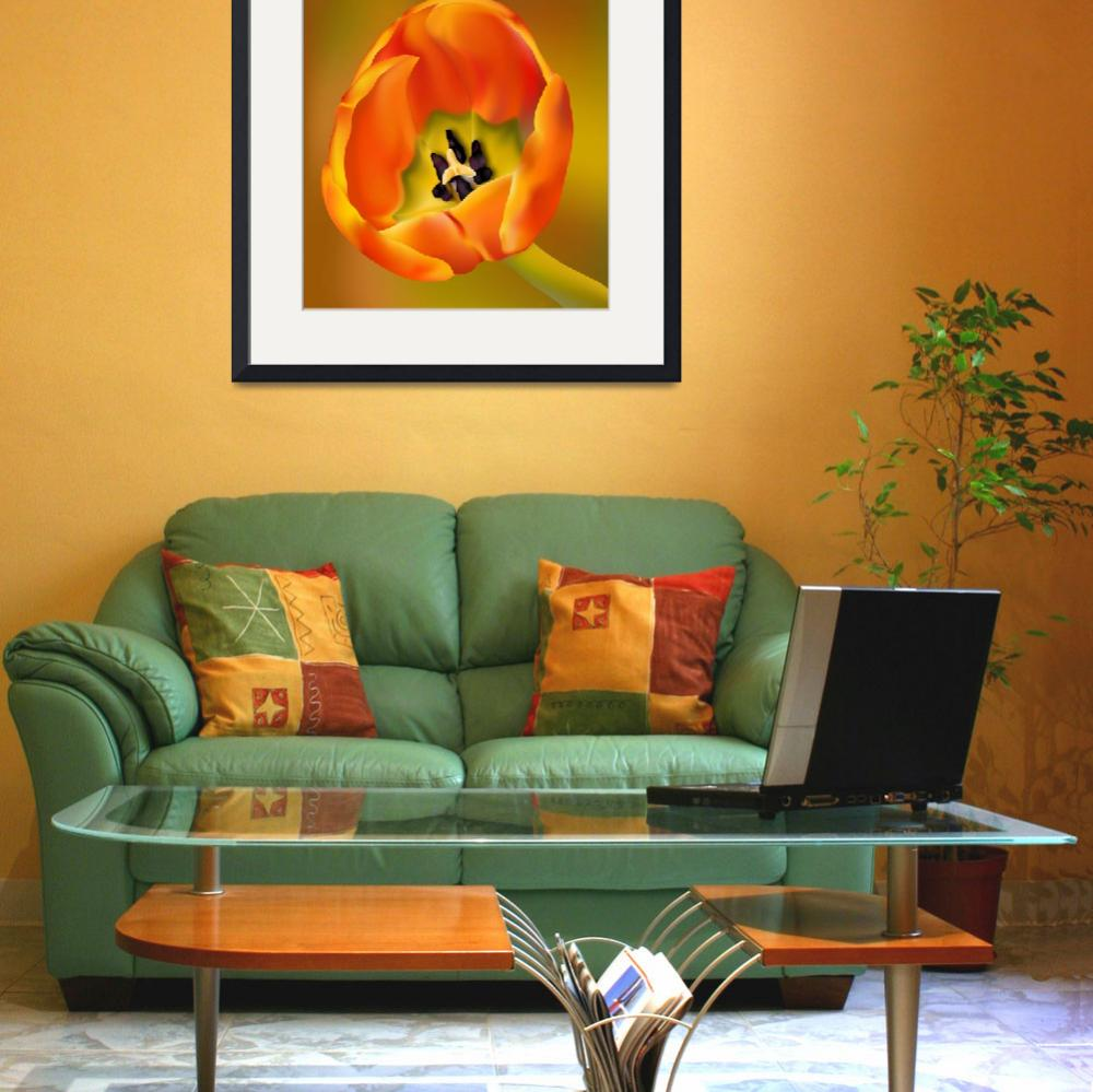 """""""Tulip Flower Orange and Green&quot  (2012) by AnneSoule"""