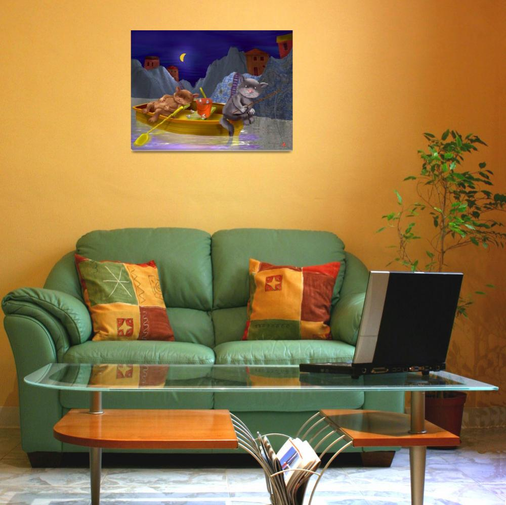 """""""blue,childrens art,childrens room,cats,nursery,kid&quot  (2002) by MarianneIlevitzky"""