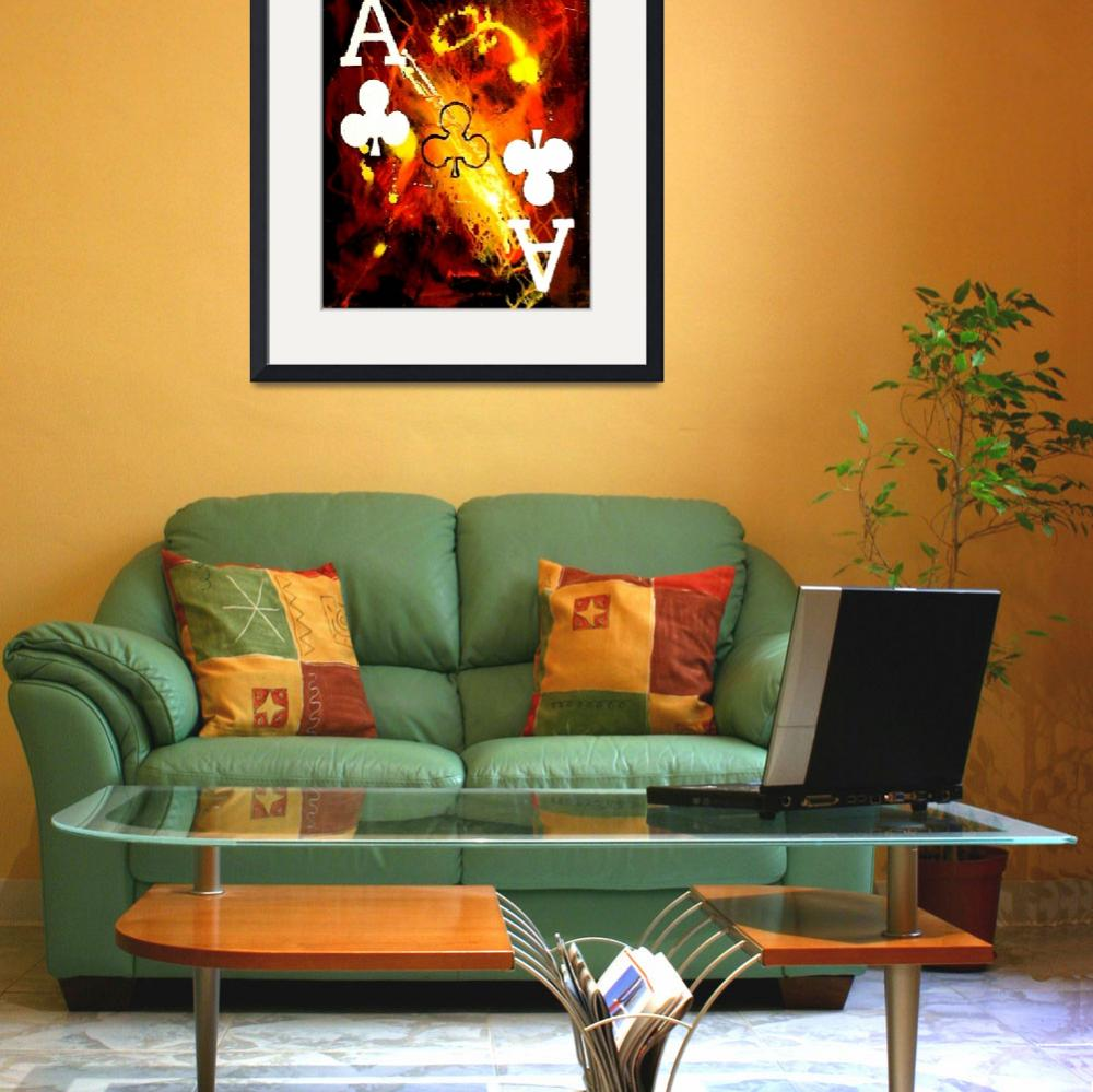 """""""ABSTRACT GALAXY ACES POKER ART OF CLUBS&quot  (2006) by teofaith"""