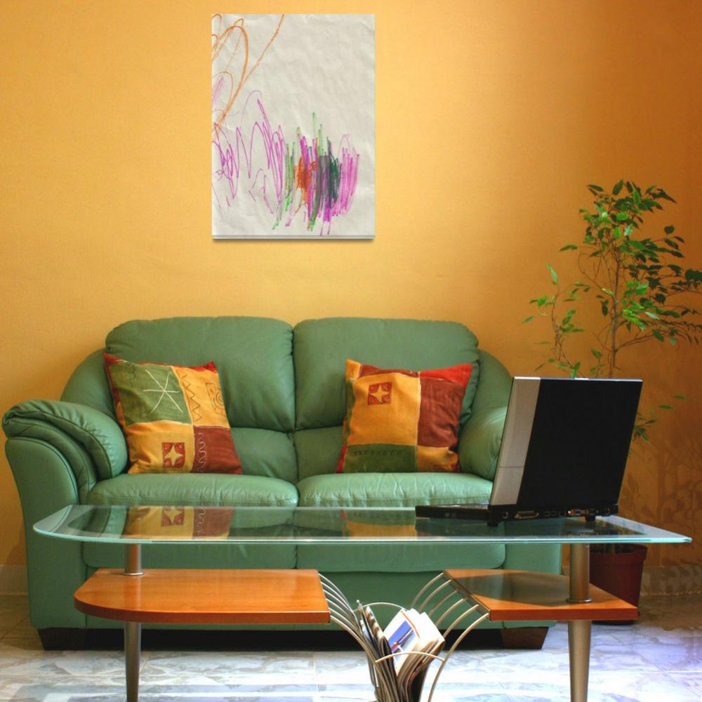 """""""Diptych in Orange, Pink, Red, Green, and Blue&quot  (2008) by AutisticArtists"""