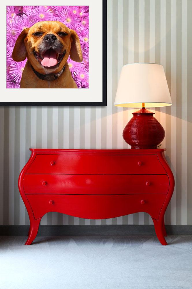 """""""Smiling Puggle&quot  (2009) by AmyVangsgard"""