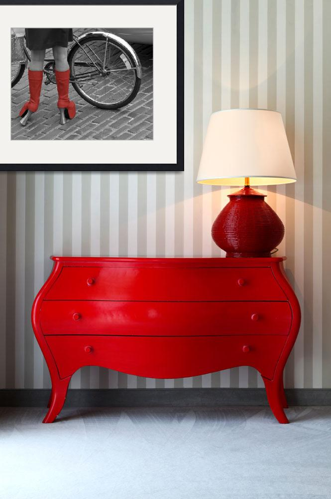 """""""Red Boot Fashionista, Seattle&quot  (2008) by SederquistPhotography"""